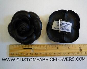 Black Leather Camelia Flower Pin - Custom Made