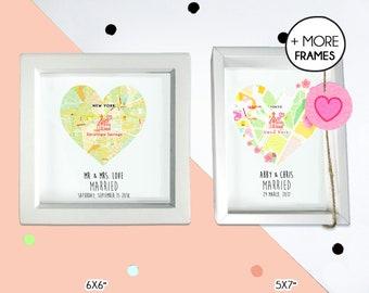 Personalized map wedding gift, wedding anniversary frame, wedding present for couple, acrylic wedding frame, proposal frame
