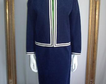 Vintage 1970's Navy Blue Ultrasuede Suit - Size 6