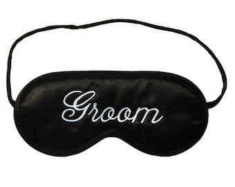 Groom Sleep Mask, wedding night eyemask, husband black and white sleeping eye mask, gift under 20 for groom, honeymoon lingerie, choose silk