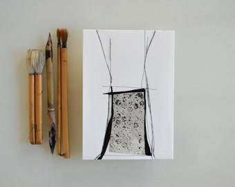 Original Mixed Media Abstract Ink Art - House-Collage/contemporany/ink dark/minimal/nature/geometric/structural forms by Cristina Ripper