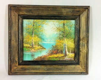 Framed Landscape Oil Painting on Canvas Signed
