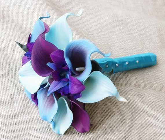 Silk Flower Wedding Bouquet Purple Blue Calla Lilies and