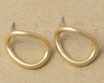 Bended Earrings, Branch Earrings, 925 Silver Post, Simple Earrings, Matte Gold Plated over Brass- 2 Pieces-[BE0005]-MG