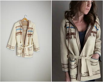 vintage 70s cardigan sweater with belt and hood -- womens medium