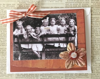 NEW Handmade Blank Greeting Card Featuring Vintage Photo Young Girls on Bench