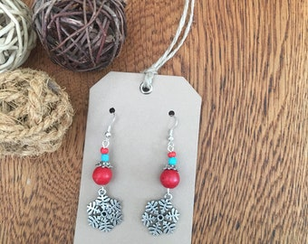 Boho earrings; drop earrings; snowflake earrings; charm earrings; bead earrings