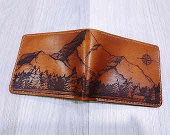 Mountain wallet/Men wallet/leather handmade wallet/forest tree wallet/customized wallet/boyfriend gifts/birthday gift/dad gifts/Gift for him