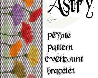 Peyote Pattern for bracelet:  ASTRY - INSTANT DOWNLOAD pdf