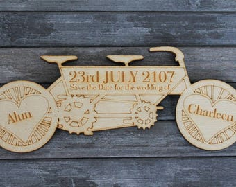 Wooden Tandem Bike Shaped Personalised SAVE THE DATE Fridge Magnets