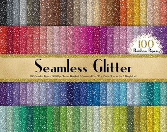"""100 Seamless Glitter Papers in 12"""" x 12"""", 300 Dpi Planner Paper, Commercial Use, Scrapbook Papers, Rainbow Paper, Glitter Paper"""