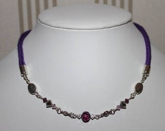 Crew neck purple cotton knit, Swarovski Pearl, silver