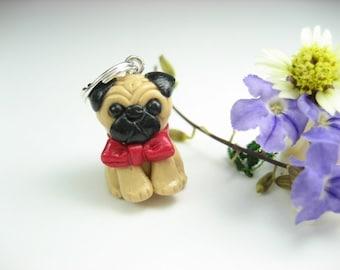 Pug Necklace pendant - fawn dog jewelry ,miniature animal dog