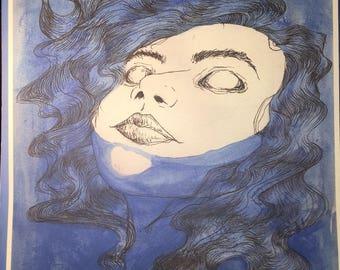 Drowning Inktober print