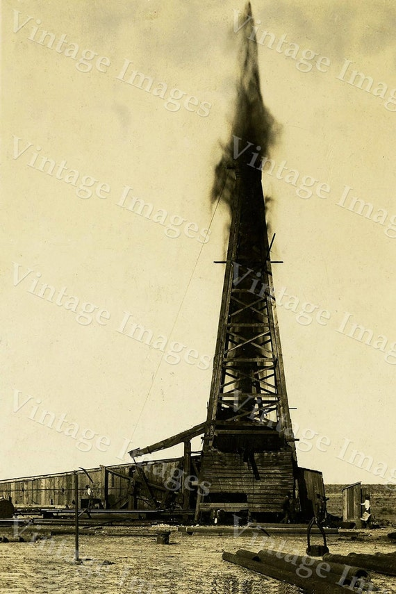 oil derrick Photo well drill drilling rig gushing oil field sepia tone photo wall home decor Texas oil gusher Old Vintage Photograph print
