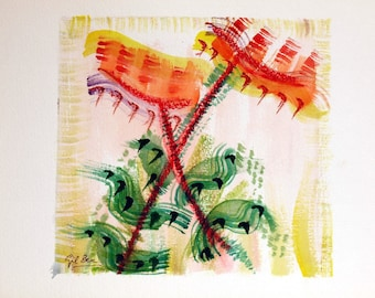FREE SHIPPING Watercolor dreams number 1 (Sunflowers)