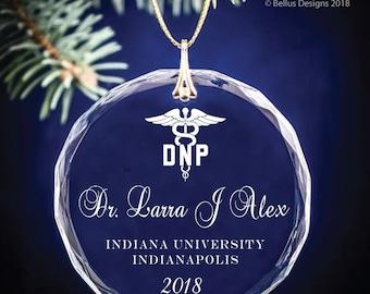Nursing Degree BSN, DNP, LPN, Graduation Date Keepsake – Circle Personalized Christmas Ornament