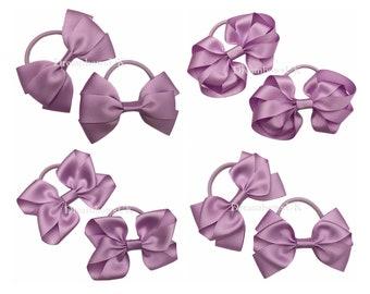 Lilac ribbon hair bows, Thick hair bobbles, Hair elastics, Girls lilac hair accessories, Hair ribbons, Party hair bows, Thick hair ties