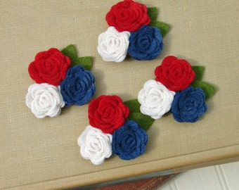 Wool Felt Flowers - Mini Posies Trio Americana - The Original Wool Felt Posies