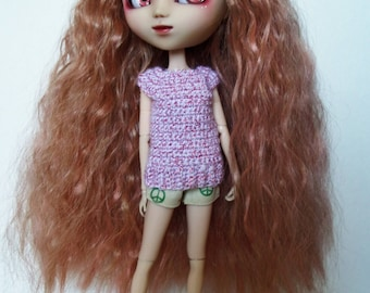 White and red crochet Top for Pullip dolls