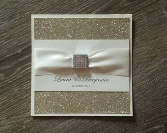 Hollywood Glamour handmade Wedding Invitation