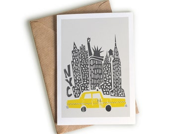 New York Card, Card For Wife, A6 Size, Blank Greeting Card, Yellow Taxi Cab, Gift for New Yorker, Empire State Building, NYC Cityscape