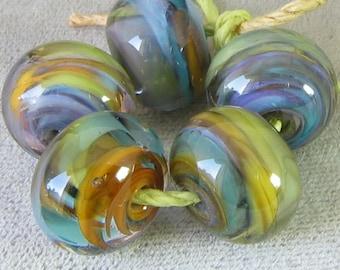 La marée piscine Murano entretoise à la main en verre perles enfermé bleu corail violet au choix 2 4 5 ou 6 set de perles