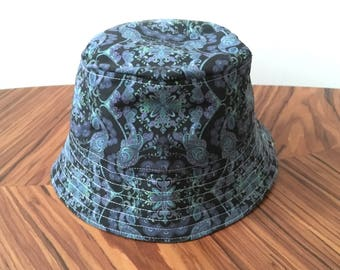 Mans Bucket Hat, Psychedelic Festival Hat, Sun Hat, Summer Hat, Blue Hat, Hat with pocket, Garden Hat, Funky Hat.