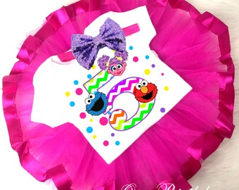 Elmo Abby Cadabby Cookie Monster Chevron Pink Purple 5th Fifth Birthday Shirt Tutu Tee Sequins Bow Headband Set Baby Girl Outfit Set Custom
