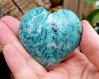 Amazonite Puff Heart - Amazonite Heart