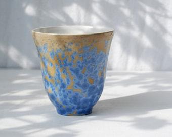 Pottery coffee mug, blue ceramic mug, one of a kind cup, crystalline pottery, coffee lovers gift, ceramics and pottery, crystal ceramic mug.