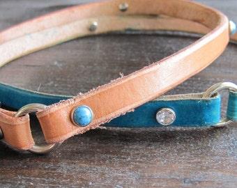 Leather Dog Tag Collar - Greyhound Tag Collar - Whippet Tag Collar - Italian Greyhound Tag Collar - Sighthound Tag Collar