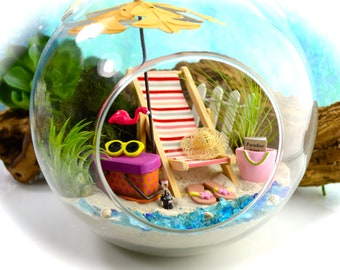 """Beach Terrarium Kit ~ 7"""" Air Plant Terrarium Kit ~ Coastal Living Beach Decor ~ Beach Chair ~ Umbrella ~ FlipFlops ~ Picnic Basket ~ Gift"""