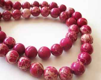 "Pink Sea Sediment Variscite Beads - Pink Tan Round Beads - Natural Smooth Mosaic Stone Beads - 16"" Strand - 10mm - DIY Spring Jewelry Making"