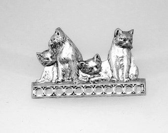1pcs--Cats, Brass Stamping, Antique Silver, 31x23mm (B34-2)
