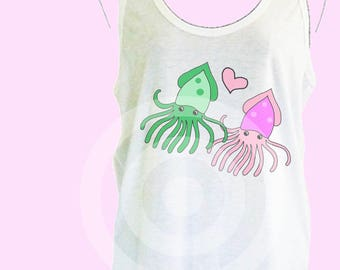 Squid tank top S M L XL - women tank tops - Squid tank - Sea animals tshirt - Funny tank top