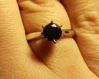 0.85ct black moissanite in silver solitaire ring plated with white gold