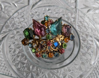 Czech Glass Crown Brooch