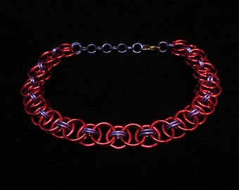 Red and Purple / Garnet / Steven Universe / Chainmail / Chain Maille / Helm's Weave / Bracelet / Gift