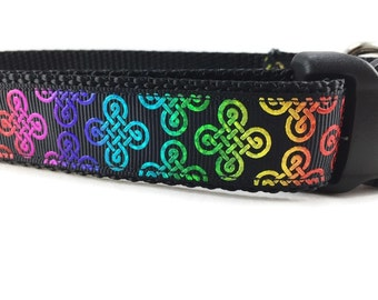 St Patrick's Dog Collar, Celtic Knot, 1 inch wide, adjustable, quick release, metal buckle, chain, martingale, hybrid, nylon