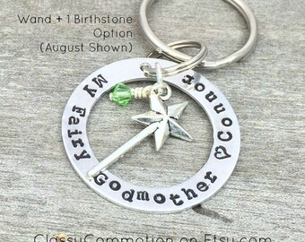 My Fairy Godmother Keychain with Wand - Hand Stamped
