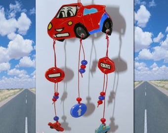 Ceramic Mobile with Smiling Red Car - Road Signs, Small Cars and Beads. Handmade Ceramic for Home Decoration - Children's Room - Gift Wrap
