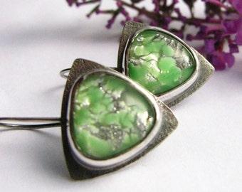 Contemporary Earrings, Green Earrings, Vintage Japanese Opal Glass Cabochon Earrings, Sterling Silver Earring , Metalsmith Modern Jewelry