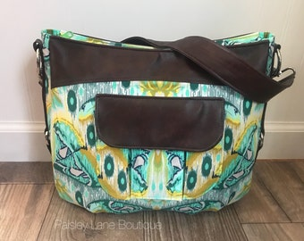 Atlas and Watercolor Roomy Hobo Bag, Tula Pink Eden Butterfly Moth Handbag in teals, blues, yellows and greens, vinyl accents and strap.
