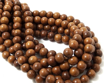 "Madre de Cacao Wood, 8mm, Round, Smooth, Small, Natural Wood Beads, Full 16"" Strand, 50pcs - ID 1648-LT"