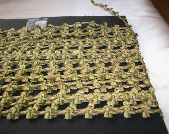 Gold metal rare silk garland antique authentic ribbon work narrow ribbon doll supply