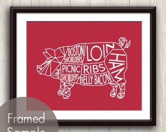 Pig Geometric Butcher Diagram Series B - Art Print (featured in Tomato) Modern Kitchen Art Print