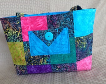 Turquoise Batik tote bag