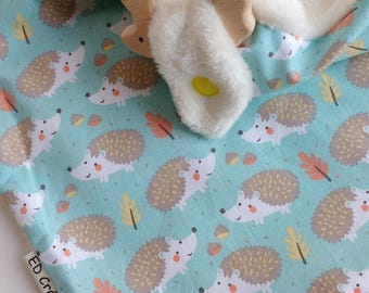 Doudou cotton labels triangular ring (2 in 1) Hedgehog