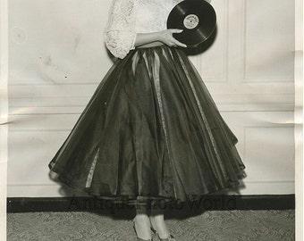 Singer Alice Lon w record Lawrence Welk vintage photo